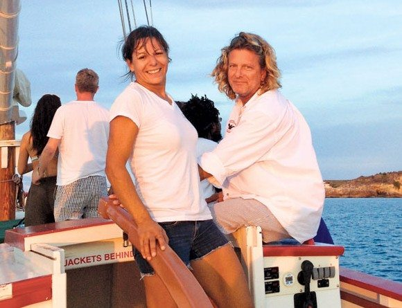 Deborah and Laurie aboard Tradition. Photo courtesy of David Ray Bradbury
