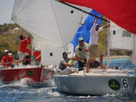 Fast-paced one-design racing is part of the keen competition at the St. Thomas International Regatta. Credit: Dean Barnes