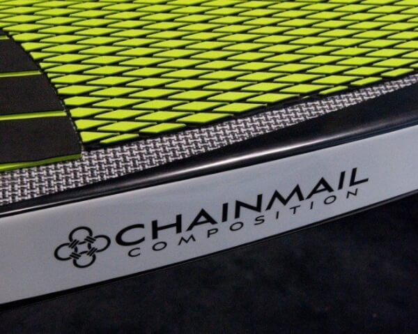 Bote Raceboard utilizing the new composite fabric Chainmail, a carbon and plastic blend.