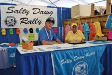 Linda and Bill Knowles at the Salty Dawg Rally booth in Newport