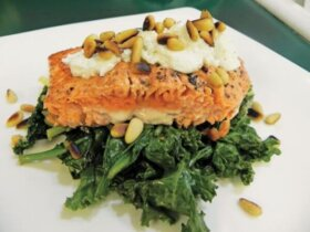 SALMON WITH GARLIC-LEMON KALE & SPINACH