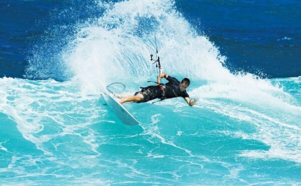 Image of Kitesurfing on a Wave in Puerto Rico