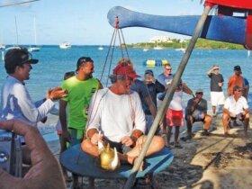 Morgan Dale won his weight in rum! Credit: Karen Stanton