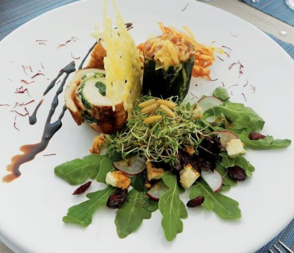 Chef Nadin Grabrow placed 3rd with this entrée: Stuffed Chicken Rolls. Mt. Gay rum flamed chicken, wrapped in bacon and stuffed with spinach. Parmesan baked zucchini and goat cheese salad with cranberries and potato flakes