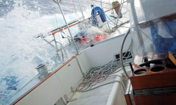 Ganesh water on deck in rough seas