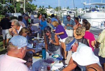 Image showing the Dock Party and the Last Happy Hour! Photo by Vicki Lathom and Fran Carlson