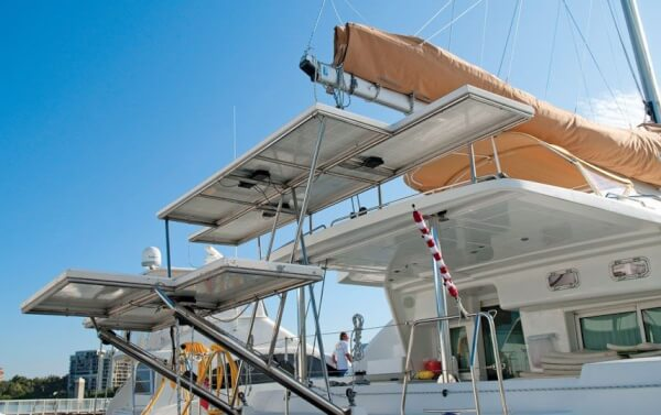 This catamaran enjoys a good power supply from its array of solar panels on custom mounts. Photography By Glenn Hayes