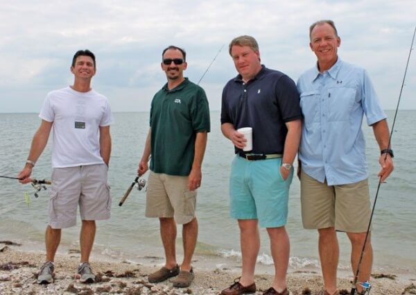 Pat Murray, Ted Venker, Matt Paxton and Bruce Culpepper enjoy a bit of fishing. Photo By Jeff Dennis