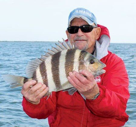 Longtime guide Jim Friebele with a nice sheepshead. Photo By Jeff Dennis