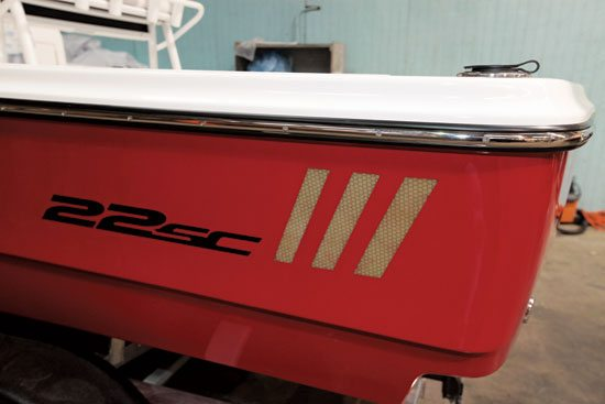 Each Epic Wakeboats hull has vertical striping to display resin-infused hull.