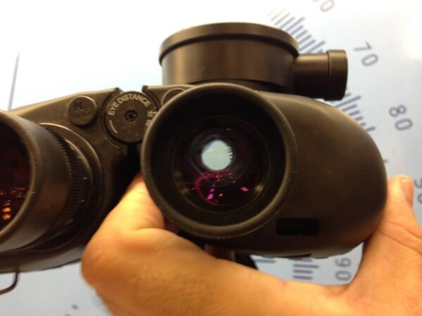 An example of the exit pupil on a pair of Steiner binoculars.