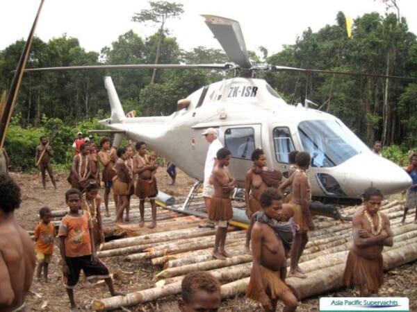 Building Heli landing at Irian Jaya