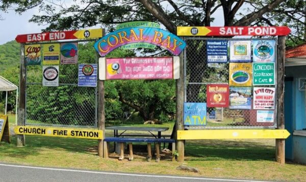 Entrance Sign to Coral Bay. Photography by Dean Barnes