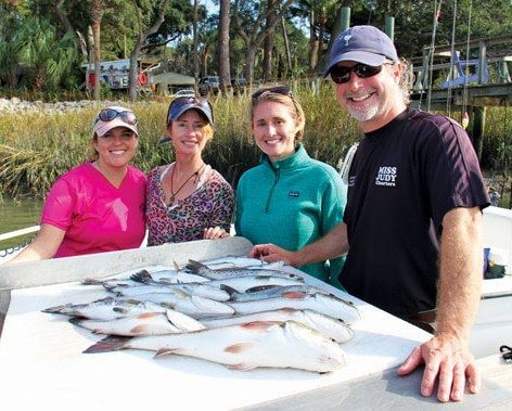 (from left to right) Chris Waters, Sonja Wallen, Jillian Luse, Captain Matt Williams and of course the fish!