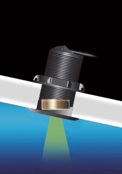 The P19 tilted element transducer allows for the good signal even when there is a dead rise on the hull it is mounted to.