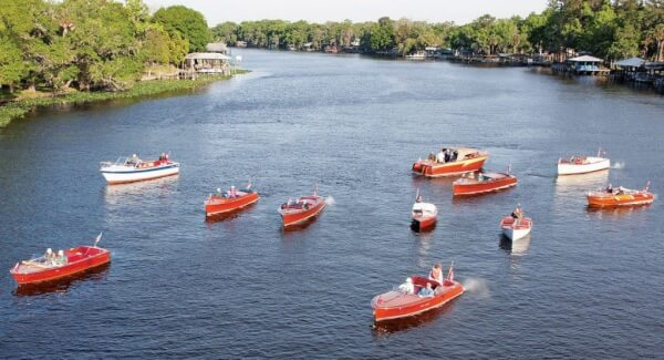 Some of the 2012 Sunnyland cruisers on the river at Astor, Florida. Photo credit Jody Dobbs