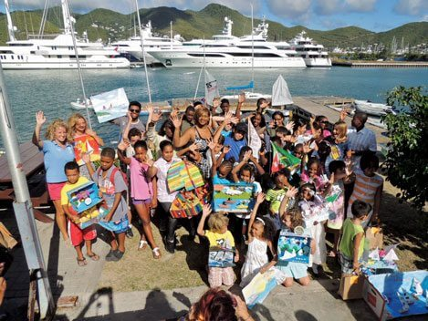 Art competitions are a great way to get youngsters involved! Here, kids show their work at the St. Maarten Heineken Regatta