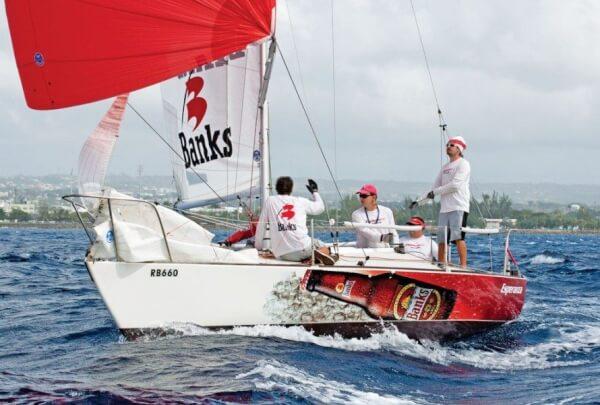 The winning J/24 Banks Esperanza playing the spinnaker. Photo: Peter Marshall