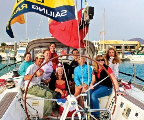 Six girls and two guys onboard the First 40 Southern Child. Photo by Louay Habib