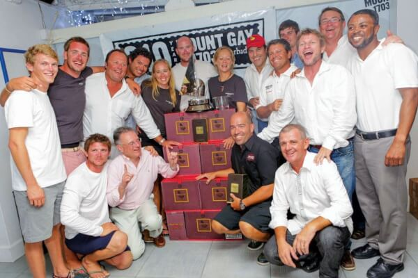 Team Mount Gay Monster Project wins their skipper's weight in rum for setting a new outright round Barbados record. Photo: Nigel Wallace Photography