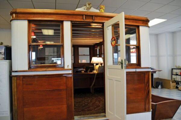 Trumpy Ibis deckhouse becomes Moores' personal office at the Beaufort facility. Photo Credit: Helen Aitken