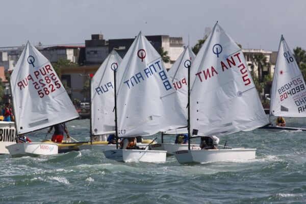 Close competition in the Optimist Class in San Juan Bay. Carlos Lee