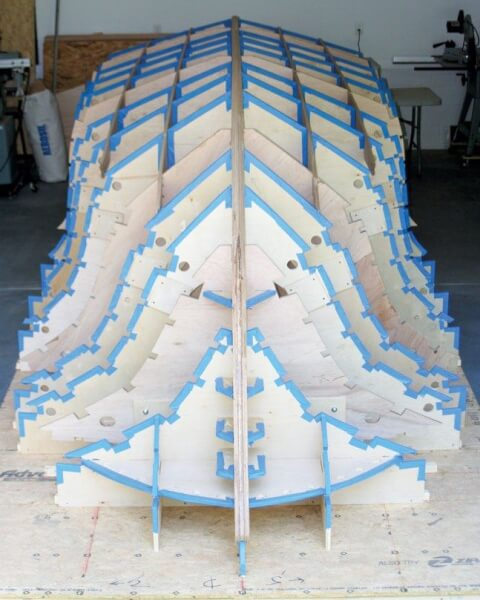 Ed Roberson's boat coming together with jigs, keel and stringers ready to plank. Photo courtesy of Ed Roberson