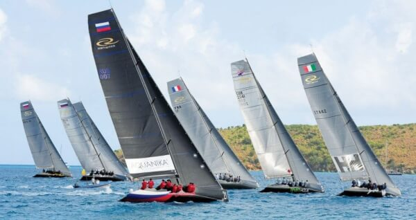 The fleet of RC44s start a race in North Sound, Virgin Gorda. The four-day regatta featured fleet and matching racing and a 30-mile race. Photo by Todd VanSickle