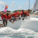 Riding the rail aboard Puerto Rico's Jamie Torres' Melges 32, Smile and Wave, CSA Racing 1 Class Winner. Dean Barnes photo