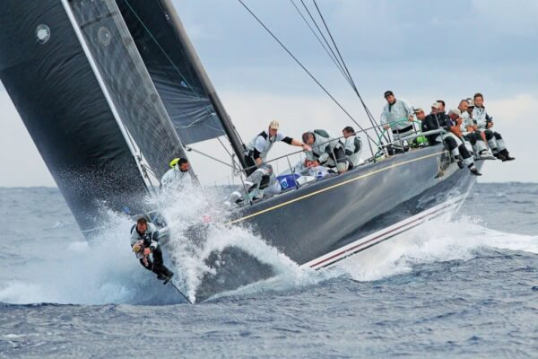 Bella Mente with Mike 'Moose' Sanderson at the helm and an unusual figurehead on the bow. Photo: RORC/Tim Wright/Photoaction.com