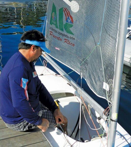 Puerto Rico's 2.4R sailorJulio 'Papote'Reguero leaves the dock