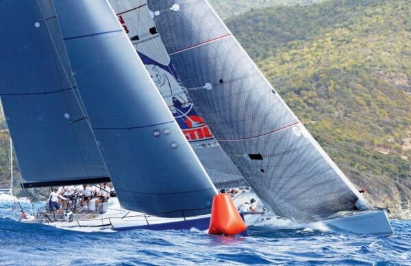 Highland Fling XII (left) and Idea of London round the windward mark. Photo: Gary Brown/OceanMedia