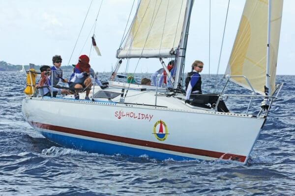 The St. Maarten Yacht Club Youth Sailing Team on their way to an overall win in CSA 9. Photo: Gary Brown/OceanMedia