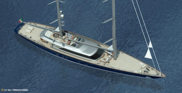 60m Perini Navi ketch view 2
