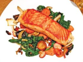 SALMON WITH MISO-DRESSING VEGETABLES