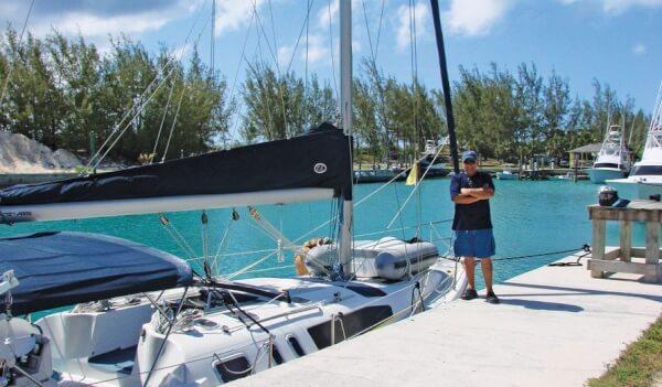 Captain Tony and his Hunter 376 Nada Mas! at Riding Rock Marina