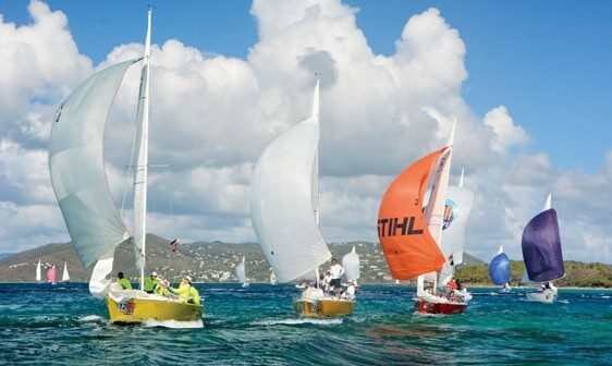 The IC24 Class makes a spectacular and spectator-friendly last race finish in Cowpet Bay. Photo: Dean Barnes