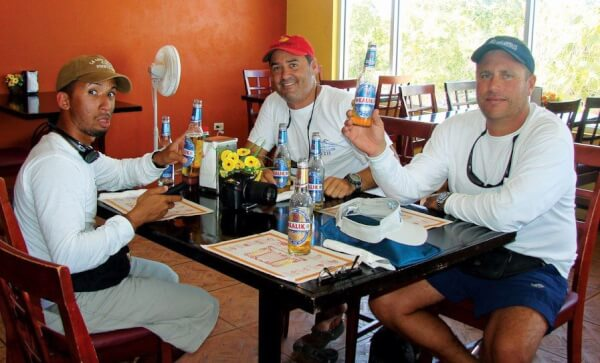 A hungry crew at the Paradis (from left): Elian, Mariano and Rodolfo