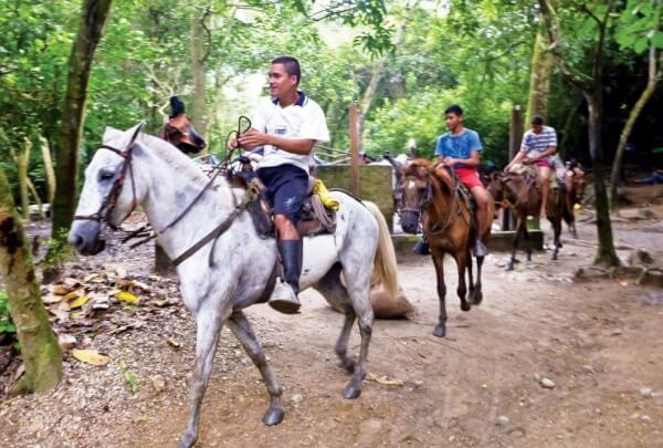 Guides on horseback in Tayrona National Park. Photo: Axel Busch