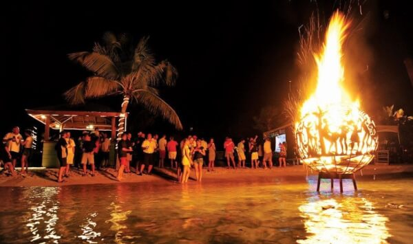 Fireballs burned each night at the BVI Spring Regatta village. Photography by Todd VanSickle