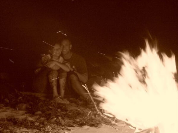 The obsessed-upon bonfire that facilitated Ernie's marriage proposal.