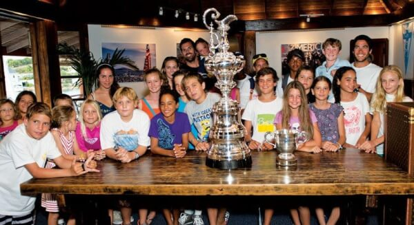 Shannon Falcone, the kids and the famous America's Cup. Ted Martin http://photofantasy.zenfolio.com