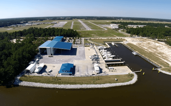 Bird's Eye view of Saunders Yachtworks.