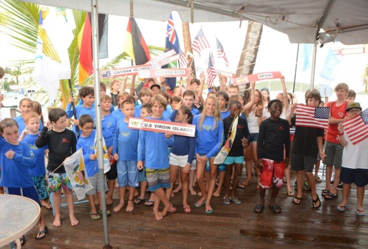 Competitors in the 2014 International Optimist Regatta. Credit: Dean Barnes