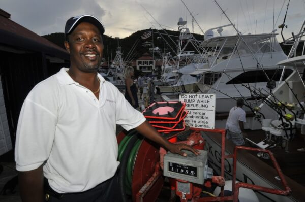 Gary Hodge, on the fuel dock at IGY's American Yacht Harbor Marina, in St. Thomas, U.S. Virgin Islands. Credit: Dean Barnes