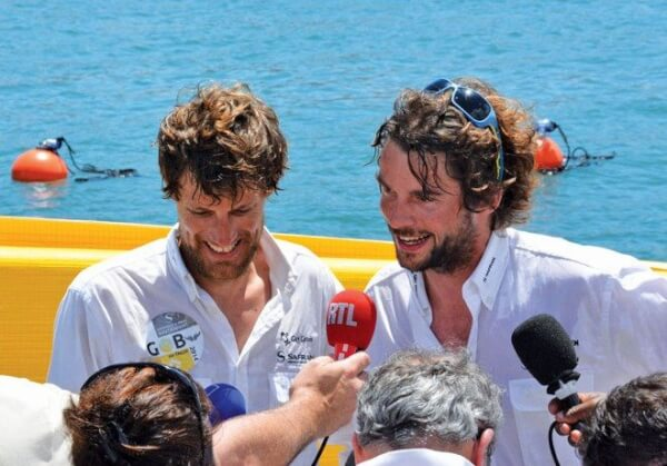 Above: Gwénolé Gahinet (left) and Paul Meilhat aboard the Figaro boat Safran-Guy Cotten, winners of the 2014 Transat AG2R La Mondiale. Photos: Rosemond Gréaux