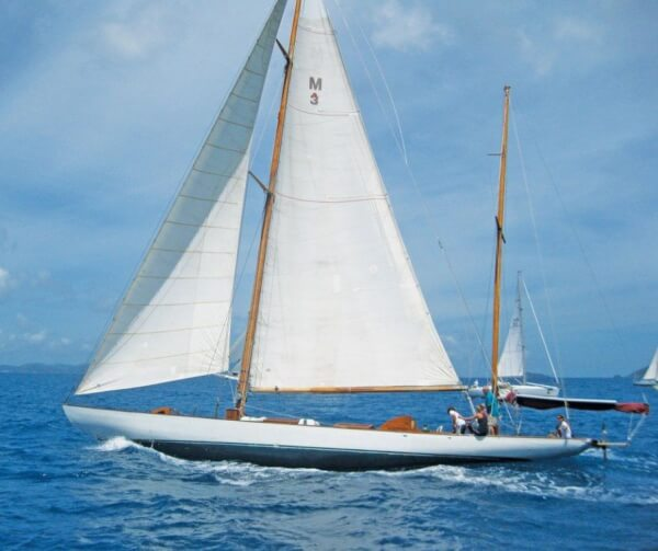 Built in 1897, the 91ft yawl Galatea, from St. Croix, makes going to windward look easy. Photo courtesy West End Yacht Club