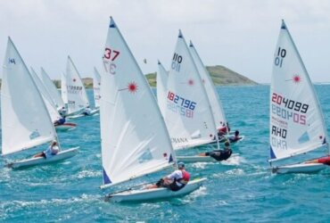 Start line action viewed from the committee boat. The Heineken Light Caribbean Open Laser Championships attracted a 24-boat fleet of seasoned sailors and emerging youth Photo by Robert Luckock