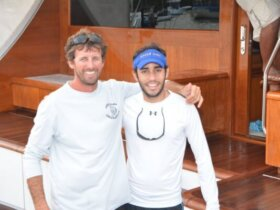 Photo: L to R: Casca Dura's Capt. Bruno Larica and leading angler Gabriel Abud. Credit: Dean Barnes