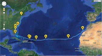 The couple's route from Africa to New York.